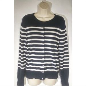 Ann Taylor Women's Cardigan Sweater Medium Striped